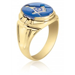 Oval Blue Spinel Masonic Fraternity Ring in 10K Yellow Gold