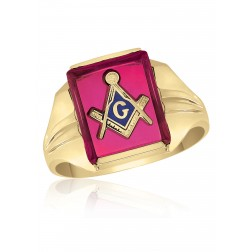 10K Yellow Gold Inlayed Red Spinal Masonic Ring