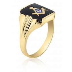 10K Yellow Gold Inlayed Onyx Masonic Ring