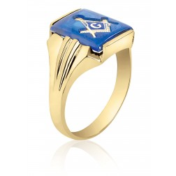 Blue Spinel Rectangle Masonic Fraternity Ring in 10K Yellow Gold