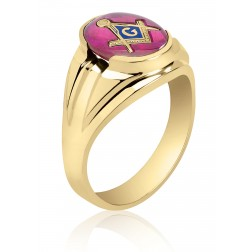 Red Oval Spinel Masonic Fraternity Ring in 10K Yellow Gold