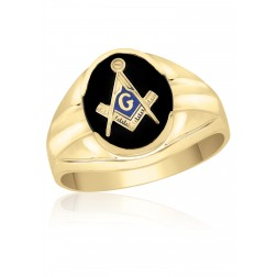 Black oval Onyx Masonic Fraternity Ring in 10K Yellow Gold