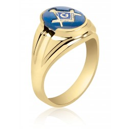 Blue Spinel Masonic Fraternity Ring in 10K Yellow Gold