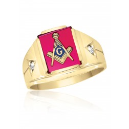 10K Yellow Gold Masonic Fraternity Ring with Red Spinel and Cubic Zirconia