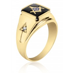 10K Yellow Gold Masonic Fraternity Ring with Black Onyx and Cubic Zirconia