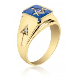 10K Yellow Gold Masonic Fraternity Ring with Blue Spinel and Cubic Zirconias