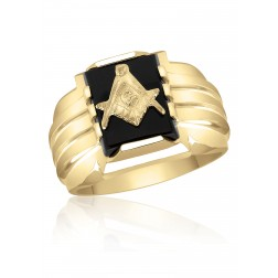 Three Pillar Claw and Bezel Set Onyx Masonic Fraternity Ring in 10K Yellow Gold