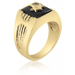 Black Onyx and Twined Rope Masonic Fraternity Ring in 10K Yellow Gold