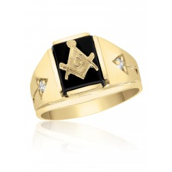 Rectangle Masonic Fraternity Ring in 10K Yellow Gold with Arrows and Cubic Zirconia