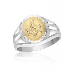 Oval Two Toned Masonic Fraternity Ring in 10K Gold