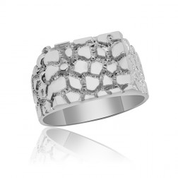 Sterling Silver Men's Nugget Ring with Solid Back