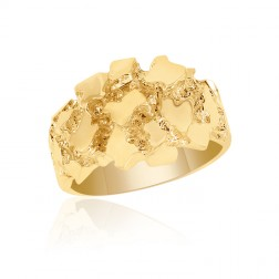 10K Yellow Gold Men's Domed Nugget Ring
