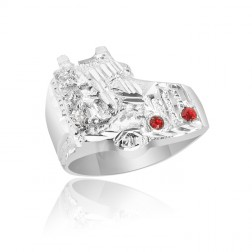 Sterling Silver Men's Truck Ring with Stones