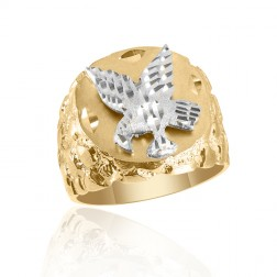 10K Two Tone Men's Eagle Ring with Nugget Pattern