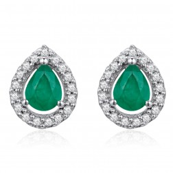 14K White Gold Pear Earrings With Emerald and Diamonds