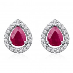 14K White Gold Pear Earrings With Ruby and Diamonds