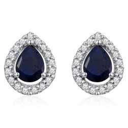 14K White Gold Pear Earrings With Sapphire and Diamonds