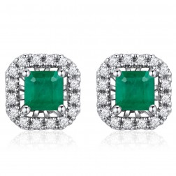 14K White Gold Square Earrings With Emerald and Diamonds