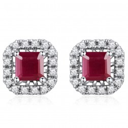 14K White Gold Square Earrings With Ruby and Diamonds