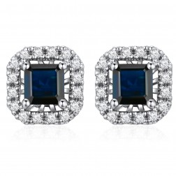 14K White Gold Square Earrings With Sapphire and Diamonds