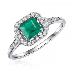 14K White Gold Square Emerald Halo Ring