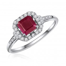 14K White Gold Square Ruby Halo Ring
