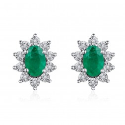 14K White Gold Halo Earrings With Emerald and Diamonds