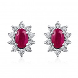 14K White Gold Halo Earrings With Ruby and Diamonds