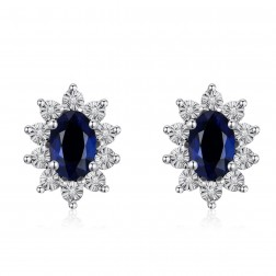 14K White Gold Halo Earrings With Sapphire and Diamonds