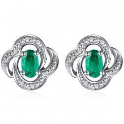 14K White Gold Floral Earrings With Emerald and Diamonds
