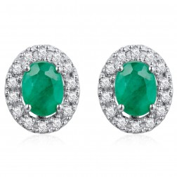 14K White Gold Oval  Earrings With Emerald and Diamonds