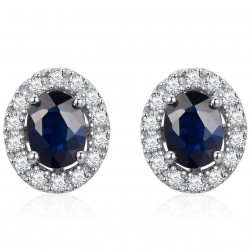 14K White Gold Cushion Earrings With Sapphire and Diamonds