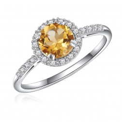 14K White Gold Round Citrine Halo Ring