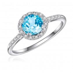 14K White Gold Round Swiss Blue Topaz Halo Ring