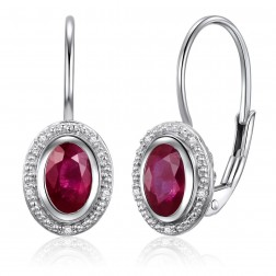 14K White Gold Oval Halo Earrings With Ruby and Diamonds