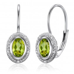 14K White Gold Oval Halo Earrings With Peridot and Diamonds