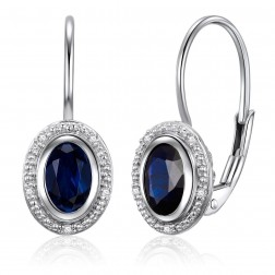 14K White Gold Oval Halo Earrings With Sapphire and Diamonds