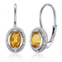 14K White Gold Oval Halo Earrings With Citrine and Diamonds
