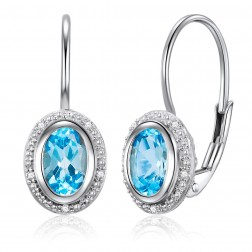 14K White Gold Oval Halo Earrings With Swiss Blue Topaz and Diamonds