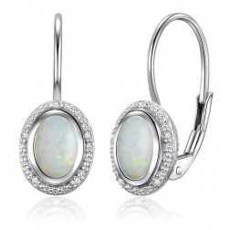 14K White Gold Oval Halo Earrings With Opal and Diamonds