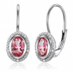 14K White Gold Oval Halo Earrings With Passion Pink Topaz and Diamonds