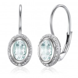 14K White Gold Oval Halo Earrings With Mint Quartz and Diamonds