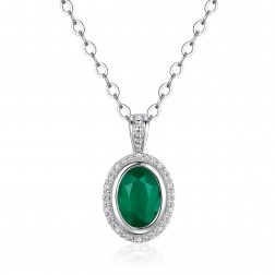 14K White Gold Round Halo Pendant With Emerald and Diamonds
