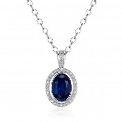 14K White Gold Round Halo Pendant With Sapphire and Diamonds