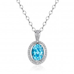 14K White Gold Round Halo Pendant With Swiss Blue Topaz and Diamonds