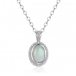 14K White Gold Round Halo Pendant With Opal and Diamonds