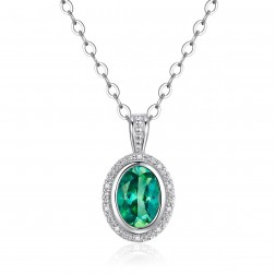 14K White Gold Round Halo Pendant With Passion Rain Forest Green and Diamonds