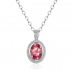 14K White Gold Round Halo Pendant With Pendant Passion Pink Topaz and Diamonds