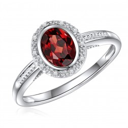 14K White Gold Oval Garnet Halo Ring