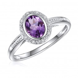 14K White Gold Oval Amethyst Halo Ring